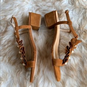 Anthropologie Shoes - Elysess suede pearled heeled sandals